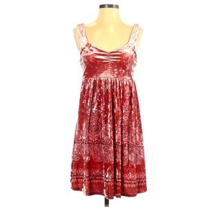 FREE PEOPLE Velvet Sequin Paisley Mini Dress pink